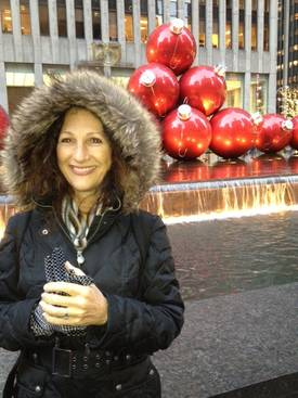 Maura in NYC Christmas Balls.jpg